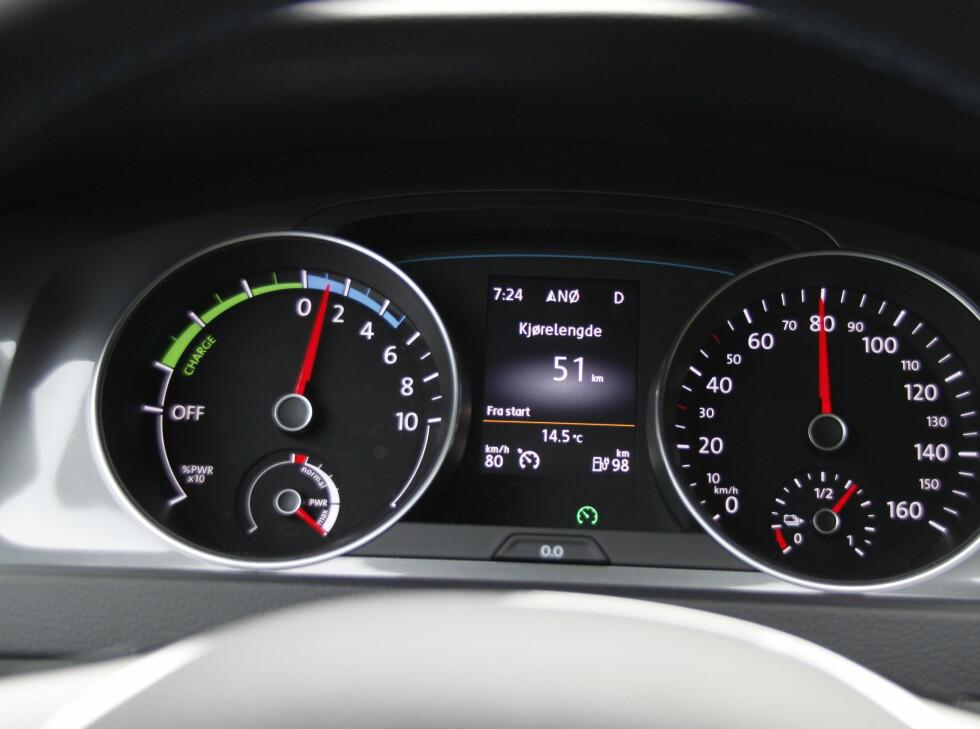"""NORMALT 2: VW- Skoda- og Audi-eiere vil kjenne igjen en velfylt kjørecomputer. """"Turtalleren"""" begynner å bli standard på alle el- og hybridbiler. Lettfattelig og oppdragende. Foto: RUNE M. NESHEIM"""