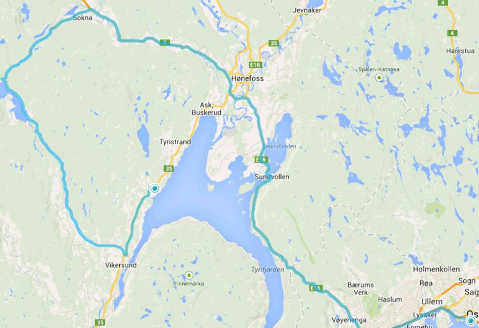 FEIGET UT: Planen var å kjøre helt opp til Ørgenvika, men 18,4 mil ble til 13,8 allerede første 8 kilometer, så vi svingte til høyyre ved Hamremokrysset. Foto: RUNE M. NESHEIM