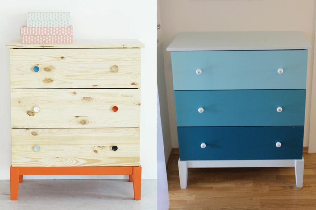 <b>FØR OG ETTER:</b> Ikeas Bråkig Limited edition-kommode før og etter et par malingsstrøk.  Foto: IKEA / ANNE ROSS SOLBERG