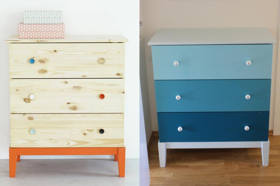 FØR OG ETTER: Ikeas Bråkig Limited edition-kommode før og etter et par malingsstrøk.  Foto: IKEA / ANNE ROSS SOLBERG