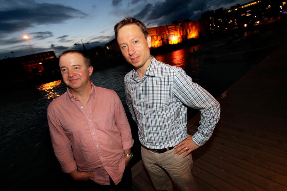 PÅ NORGESBESØK: Produktinnovasjonssjef Chris Jaffe og kommunikasjonssjef Joris Evers i Netflix møtte norske journalister etter å ha studert nordmenns Netflix-bruk.  Foto: OLE PETTER BAUGERØD STOKKE