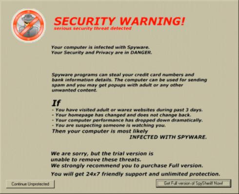 <strong><strong>FALSK:</strong></strong> I 2009 ble mange lurt av Spysheriff, som egentlig var et spionvareprogram kamuflert som et sikkerhetsprogram.