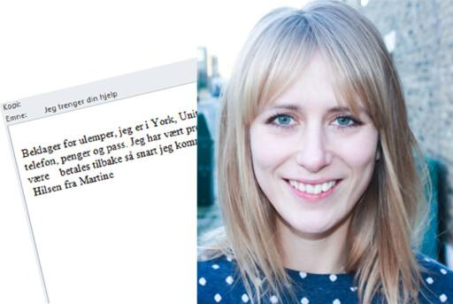 MISBRUK AV MAIL: Da noen hacket seg inn i Martine Jonsruds mail, ble det sendt ut svindelmail til alle hennes kontakter. Foto: PRIVAT