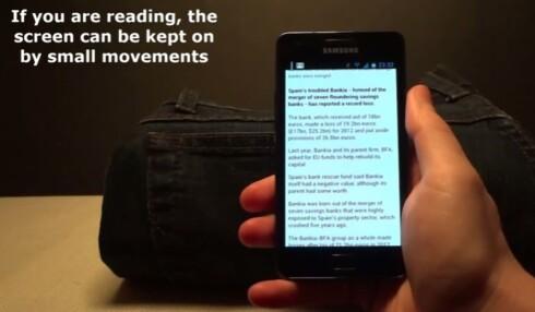 GRAVITY SCREEN: Denne Android-appen vet du holder i mobilen, derfor skrur ikke skjermen seg av når du leser en lengre tekst. Foto: GOOGLE PLAY