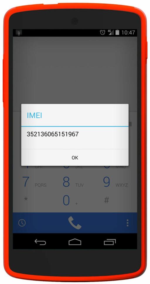 UNIKT: Alle mobiler har et eget IMEI-nummer. Du kan finne ditt ved å taste *#06# i telefonappen din, eller sjekke informasjonen om telefonen i innstillingsmenyen.  Foto: OLE PETTER BAUGERØD STOKKE
