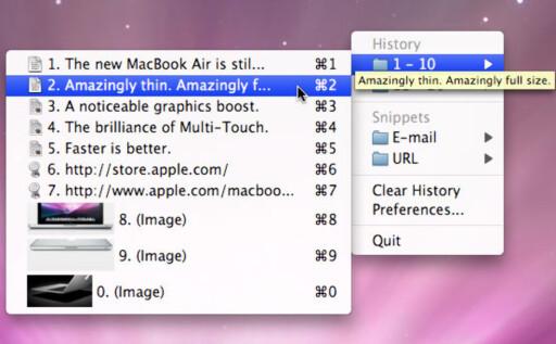 BILDER OG TEKST: ClipMenu for Mac er gratis og tar vare på alt du kopierer; det være seg bilder eller tekst.