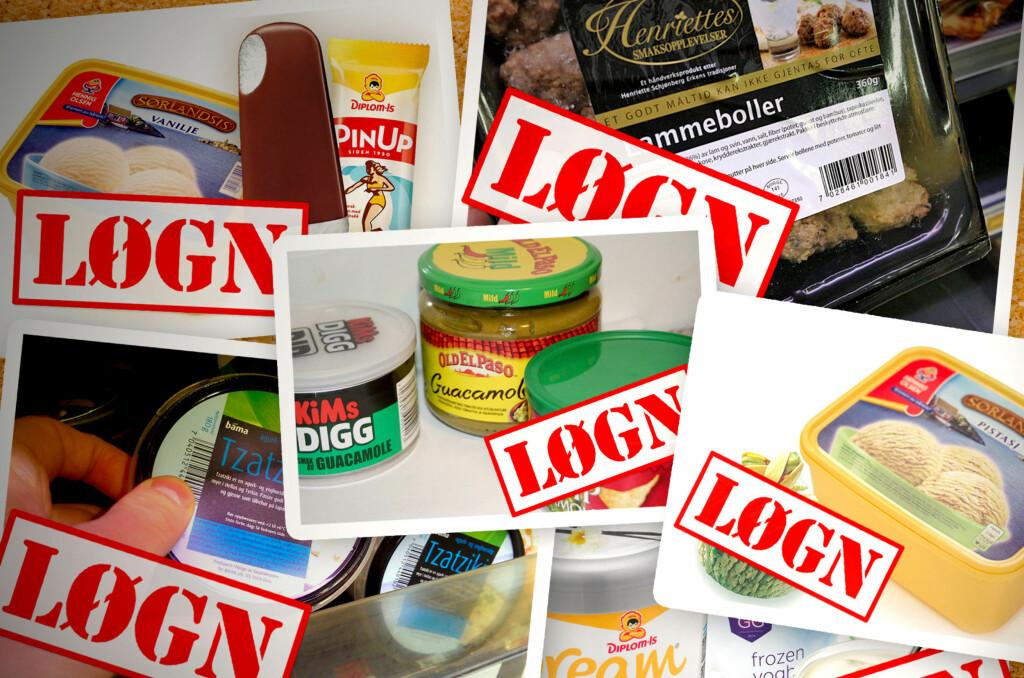 <b>MANGE EKSEMPLER: </b>Dinside har gjennom bare de siste par årene avdekket en rekke produkter som ikke inneholder det de gir uttrykk for. Mattilsynet har i svært få tilfeller uttalt seg kritisk. Foto: OLE PETTER BAUGERØD STOKKE