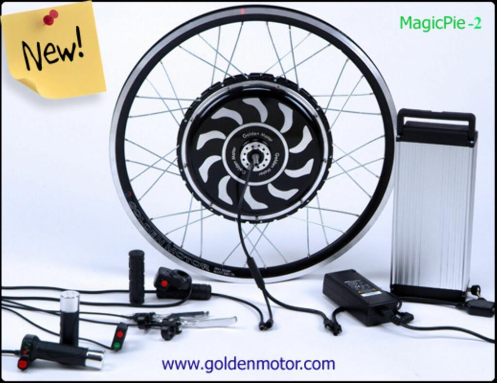 BAK: Ferdig sett med motorisert bakjul fra GoldenMotor. Foto: GOLDENMOTOR