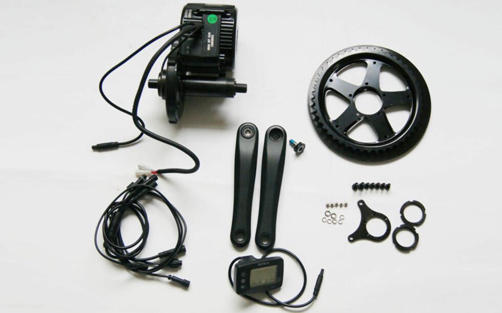 MIDTEN: Komplett sett for montering av midtmotor. Foto: Oslo el-sykkel