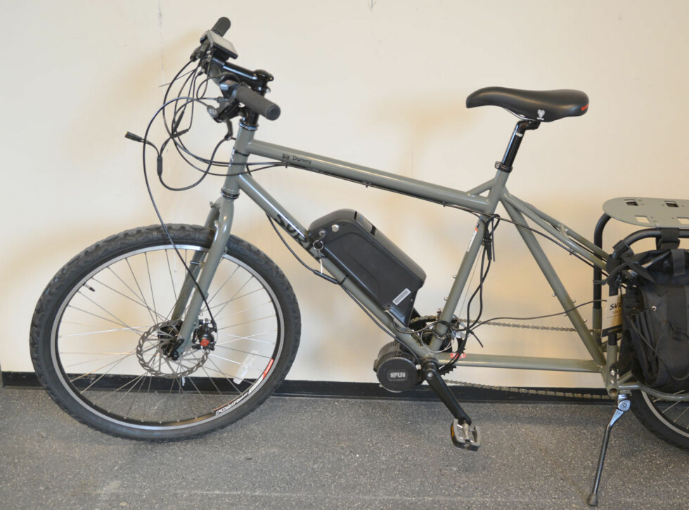 TRANSPORTSYKKEL: En lang-sykkel for transport av ting, unger eller hva du måtte finne på. Mange muligheter for tilpasninger Foto: BRYNJULF BLIX