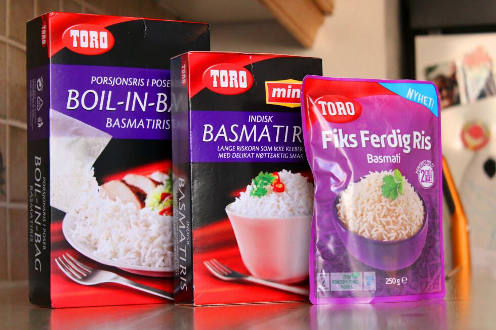 LIKE, MEN ULIKE: Toro Boil-in-bag, Ming-ris og Fiks Ferdig Ris fås alle som basmatiris. Men det er ikke bare tilbredningen som varierer.  Foto: OLE PETTER BAUGERØD STOKKE