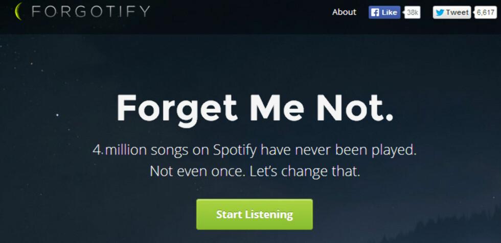 DEN VIRKELIG GLEMTE MUSIKKEN: Cirka en femtedel av de tjue millioner låtene på Spotify har aldri blitt spilt. Det ønsker Forgotify å gjøre noe med. Foto: KIRSTI ØSTVANG
