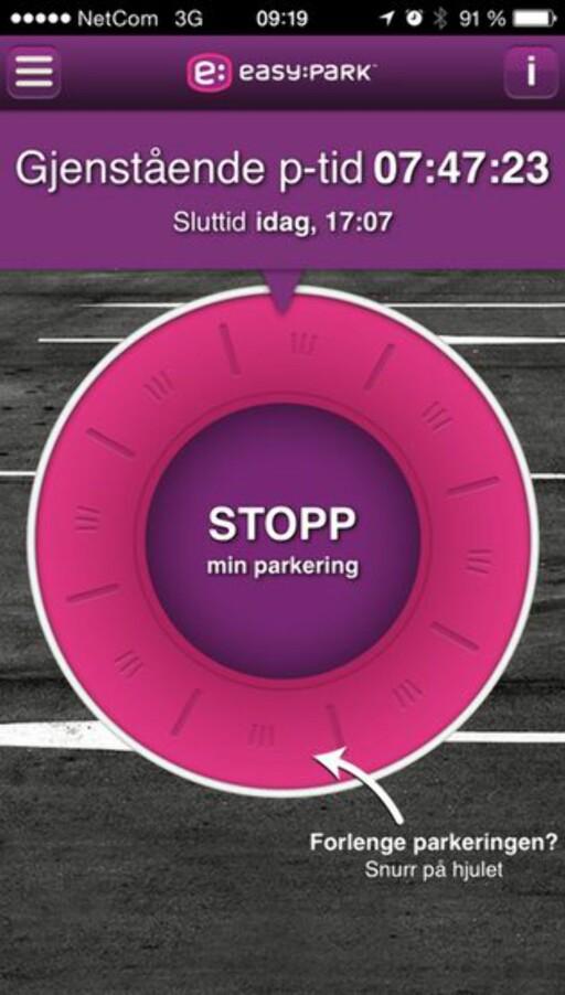 MER TID? Med Easypark-appen kan du forlenge parkeringstiden direkte fra telefonen.