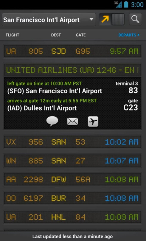 <strong>NÅR GÅR FLYET?</strong> Flightboard gir deg informasjonstavla fra flyplassen direkte på telefonen.