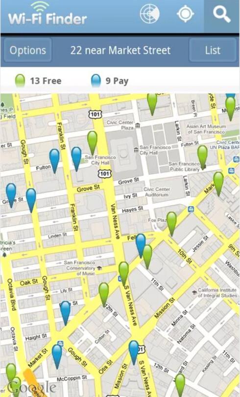 <strong><strong>FINN WIFI:</strong></strong> Ikke lyst på stor telefonregning når du kommer hjem? Med denne appen finner du trådløse nettverk i nærheten.