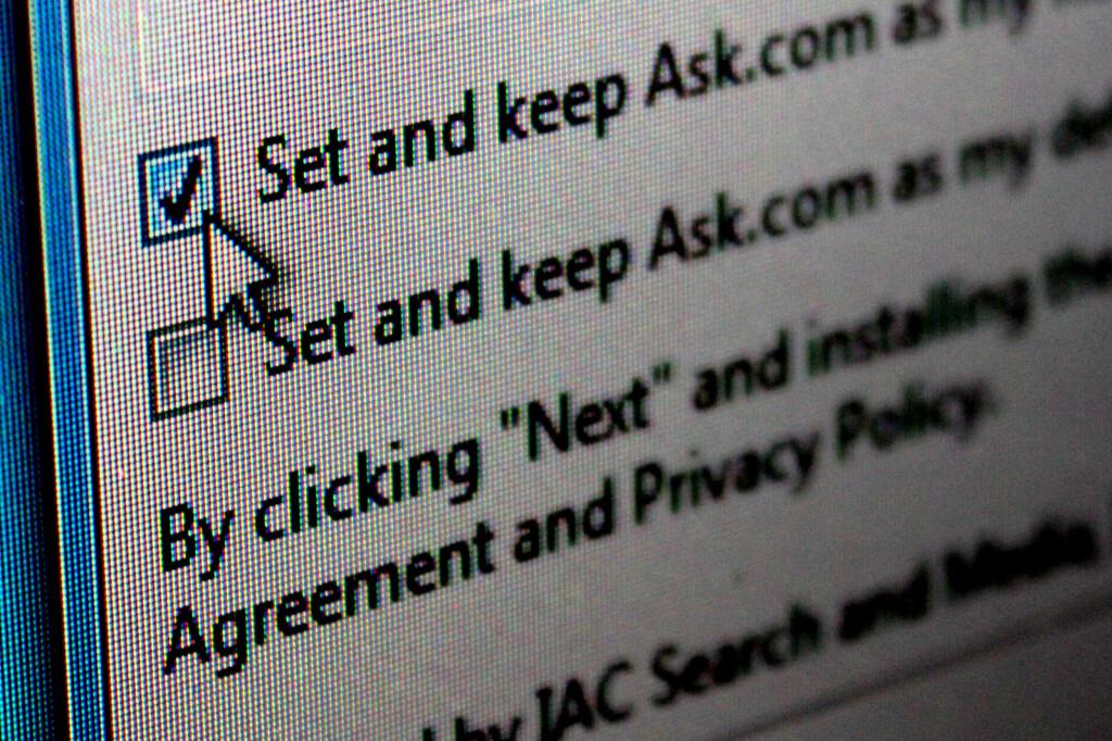 <b>HOLDER DENNE UNNA:</b> Ask-søkelinjen er en av de mest forhatte verktøylinjene som sniker seg inn på datamaskinen via andre programinstallasjoner. Med Unchecky kan du enklere stoppe den fra å bli installert. Foto: KIRSTI ØSTVANG