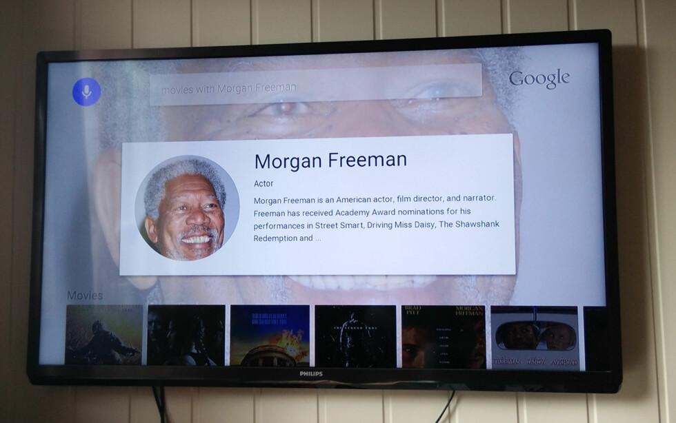 STEMMESØK: Her spurte vi etter filmer med Morgan Freeman og kan så se trailere eller leie filmer direkte.