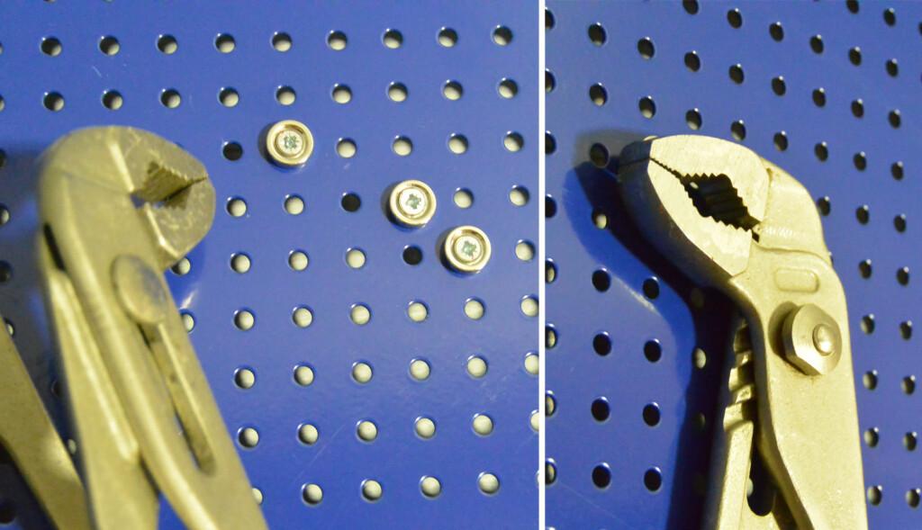 FESTE: Tyngre verktøy kan festes med flere magneter, strategisk plassert. Foto: BRYNJULF BLIX