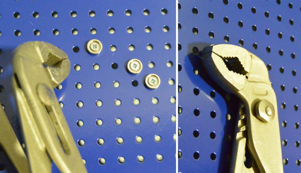 <strong><B>FESTE:</strong></B> Tyngre verktøy kan festes med flere magneter, strategisk plassert. Foto: BRYNJULF BLIX