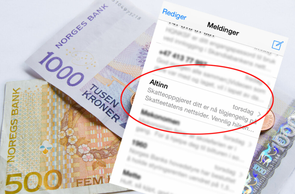 SKATTEPENGER? De som har skattepenger til gode og får skatteoppgjøret 25. juni, skal nå ha fått varsel om dette på sms og e-post. Foto: BERIT B. NJARGA
