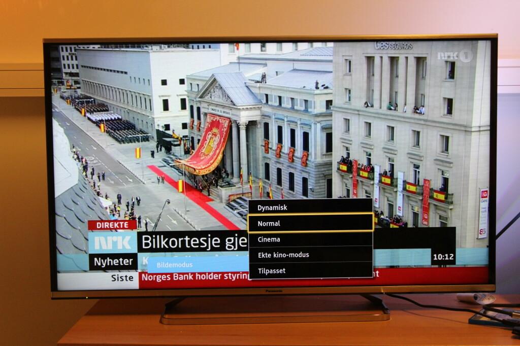 TV-SENDINGER: Normal bildemodus bruker vi til TV-sendinger. Til Blu-ray-filmer velger vi Cinema. Ekte kinomodus deaktiverer for mye bevegelseskorrigering for vår smak, men det er selvsagt valgfritt. Foto: ØYVIND PAULSEN