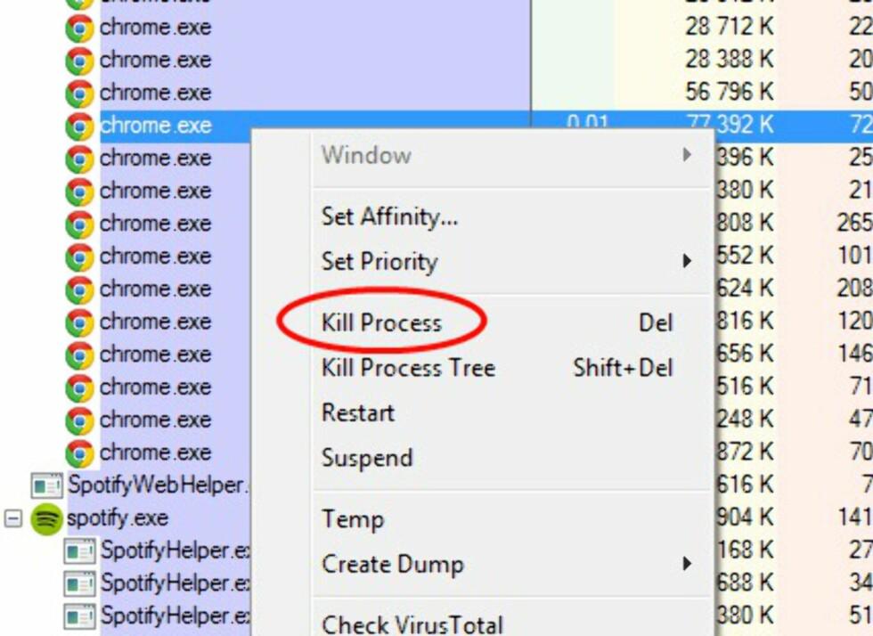 AVSLUTT ET PROGRAM: Så enkelt er det å avslutte et program som kjørere i Windows. Foto: TROND BIE