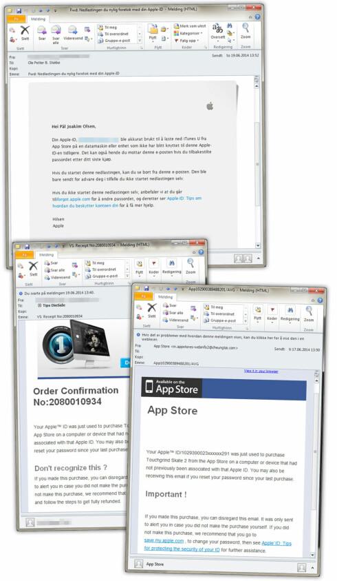 EKTE OG FALSK: Den øverste e-posten er en reell e-post fra Apple om et kjøp som er gjort på en enhet de ikke kjenner igjen. Nedenfor ser du to av de falske e-postene. Forskjellen er lett å se. Foto: OLE PETTER BAUGERØD STOKKE