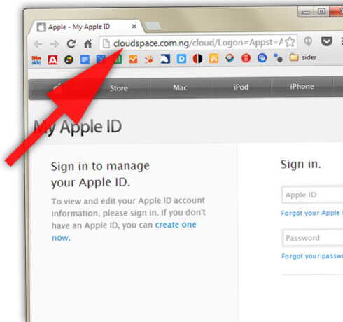 SJEKK ADRESSEN: Adressene det lenkes til er ikke på Apples domene, og dermed heller ikke Apples eiendom. Sjekk dette før du åpner lenkene, ved å holde musepekeren over og lese av adressen.  Foto: OLE PETTER BAUGERØD STOKKE
