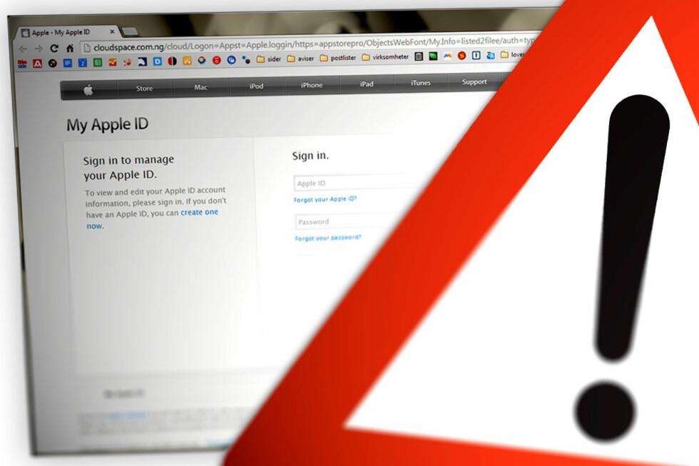 HOLD DEG UNNA: De falske e-postene fra Apple forsøker å lure ofrene inn på slike sider, hvor brukernavn og passord fiskes fra ofrene. Derav begrepet «phishing». Men blant annet nettadressen avslører dem.  Foto: OLE PETTER BAUGERØD STOKKE