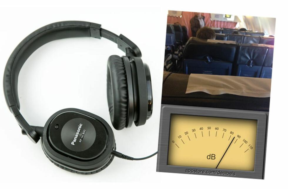 KVITT DEG MED FLYSTØYEN: På vår flytur tidligere i år viste lyd-appen et jevnt støynivå på hele 85 dB, og selv om man selvsagt ikke skal stole blindt på appens målinger, var det en befrielse å ta på seg hodetelefonene. Foto: PER ERVLAND/SKJERMDUMP MOBIL