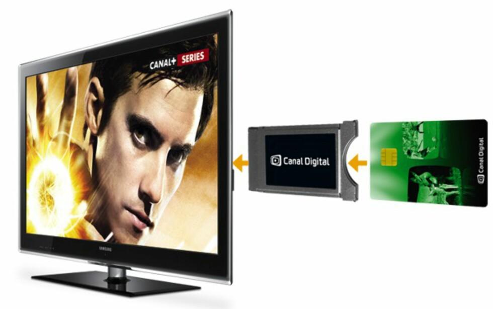 DETTE TRENGER DU FOR IDTV: Et programkort, en CAM-leser, en kompatibel TV. Foto: CANAL DIGITAL KABEL-TV