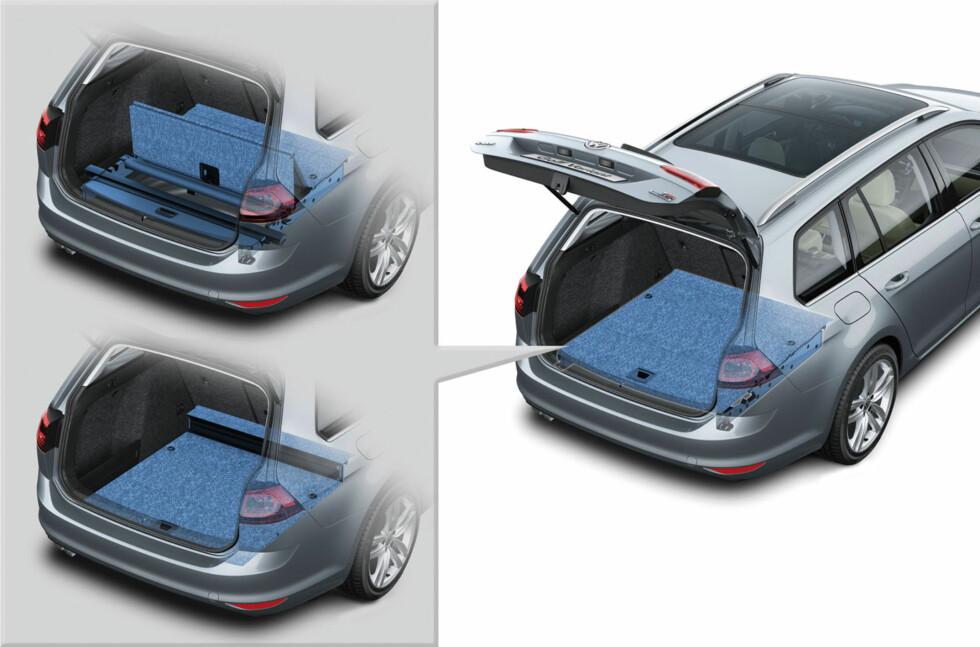 FLEKSIBELT: Bagasjerommet måles som regel med alle ledige kriker og kroker der det er mulig å plassere en av VDA-normens kuber, inklusive den tidligere reservehjulsbrønnen. Illustrasjon: VW