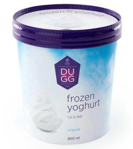 VINNEREN: Dugg fra Hennig-Olsen er i en helt annen klasse når det kommer til yoghurtinnhold. Derfor kalles den også frossen yoghurt, og ikke yoghurtis.  Foto: HENNIG-OLSEN IS