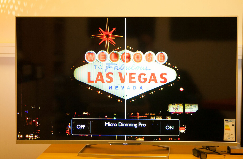 MICRO DIMMING PRO: Når kant-LED-TVene gjengir mørke scener, går det ofte ut over lysstyrken i de hvite detaljene. Dette motvirkes ganske så effektivt med mikrodimmingen, selv om det ikke er så lett å se på bildet.  Foto: PER ERVLAND