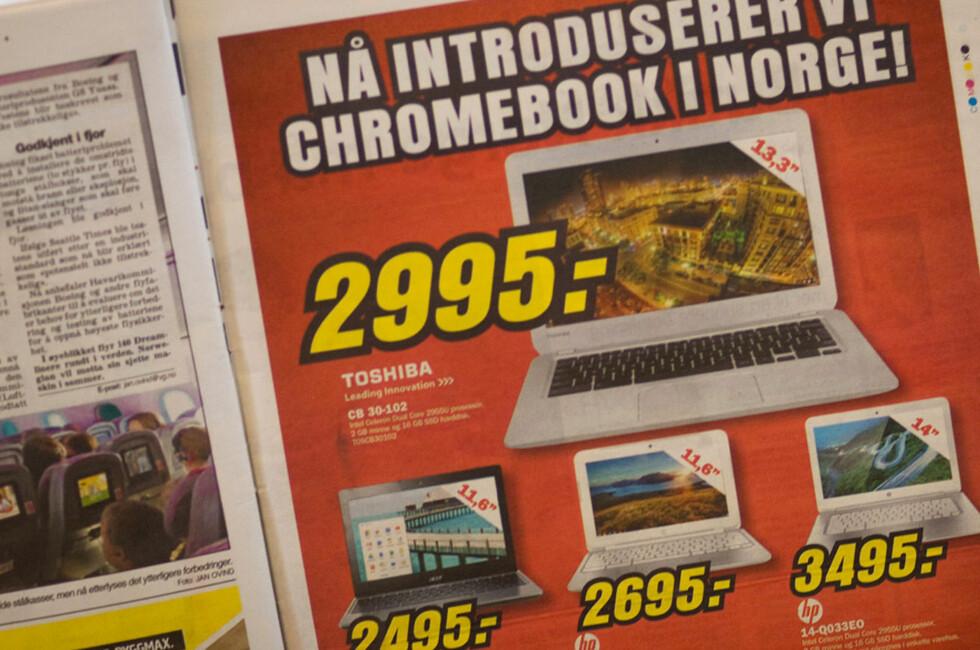 <strong>ENDELIG I SALG:</strong> Både Lefdal og Elkjøp har nå Chromebook-maskiner i sitt sortiment, men bør du kjøpe en? Foto: MARIUS JØRGENRUD
