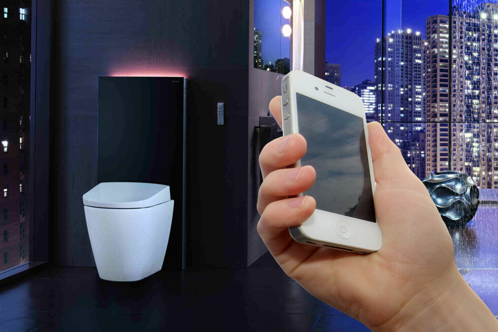 Geberits toppmodell har både luktavsug og LED-belysning, i tillegg til vask & føn-funksjon. Nå jobber selskapet med en løsning som skal la deg styre det med mobilen.  Foto: GEBERIT, DINSIDE / DINSIDE