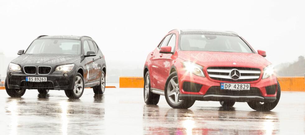 <strong><B>PRESTISJE-DUELL:</strong> </B>Mercedes tar opp kampen i den populære klassen for små SUV-er. BMW X1 er et kjent syn, og vi tipper at Mercedes GLA blir en ny storselger.  Foto: Kasper Van Wallinga / Autofil