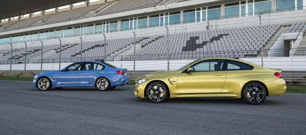 TODELT: M3 får du som firedørs sedan. M4 tar over som kupé. Foto: BMW