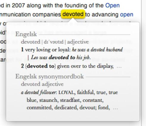 SMART: Trykker du med tre fingre på styreflaten, får du opp en ordforklaring av ordet under markøren. Foto: Skjermdump: DINSIDE.NO