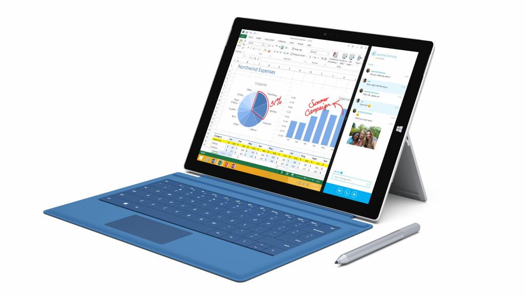 I PC-FORM: Slik ser Surface Pro 3 ut med stativet utslått og tastaturet festet på. Det følger også med en penn. Foto: MICROSOFT