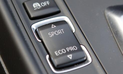 MOROKNAPP: Denne bestemmer hvordan bilens karakteristikk skal være. Gjerrig og kjedelig, eller tørst og gøyal.  Foto: RUNE M. NESHEIM