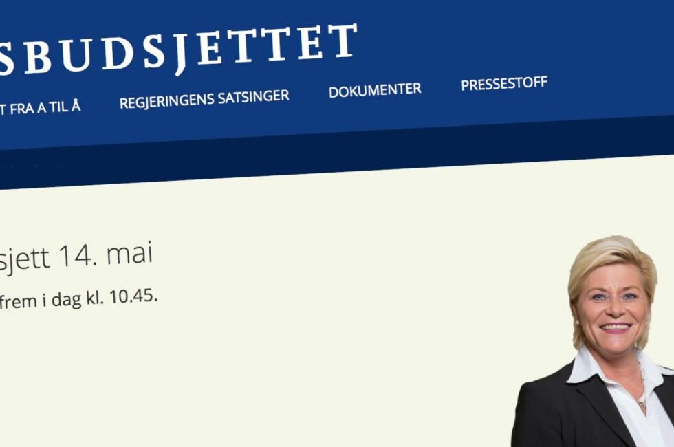 ENDRINGER: Siv Jensen la i dag frem revidert nasjonalbudsjett. Faksimile: STATSBUDSJETTET.NO