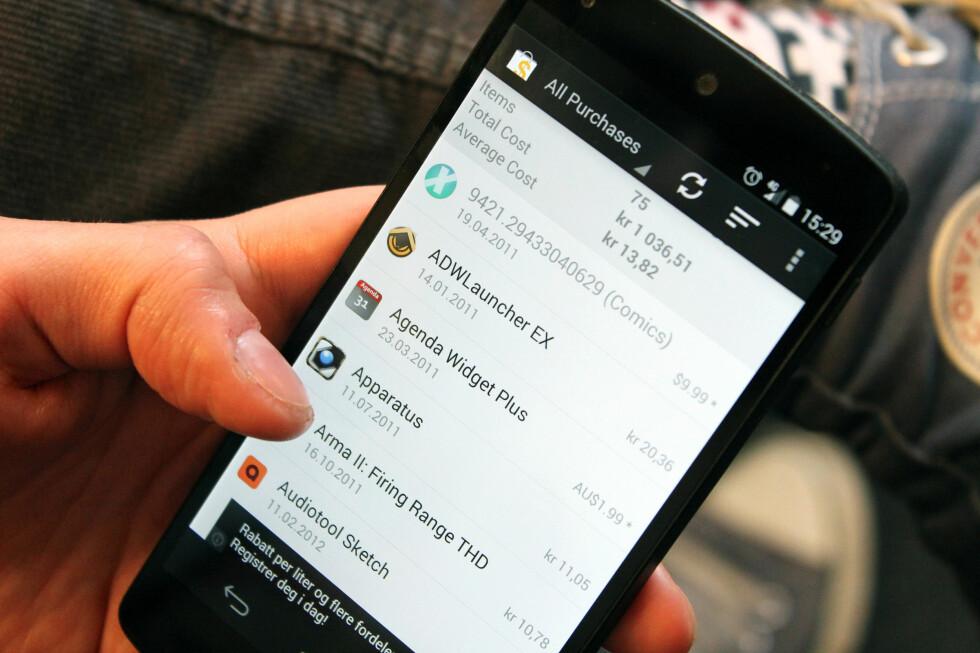 <strong><b>SJEKK SELV:</strong></b> Med denne enkle appen kan du raskt sjekke hvor mye penger du har brukt på Android-apper. Foto: KIRSTI ØSTVANG