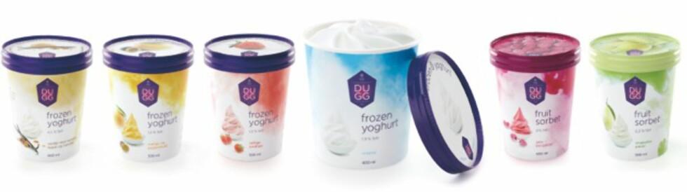 NYHET: Dugg er den første yoghurtisen som kun er basert på yoghurt,og ikke har tilsatt yogurt til kremfløte og eggeblandingen. Den kommer i fire frozen yoghurtvarianter og to sorbeter.  Foto: HENNIG OLSEN