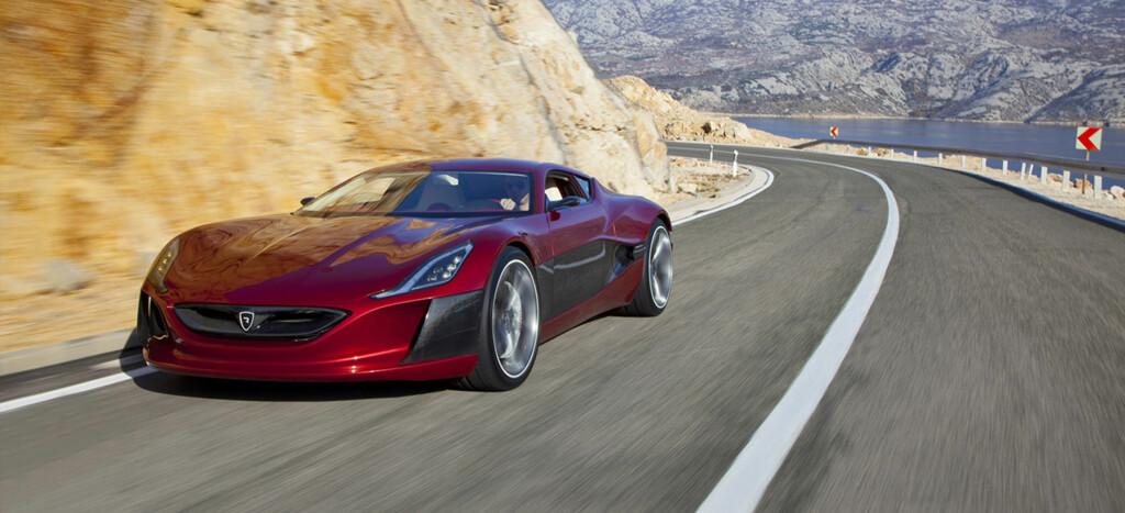 EL-SUPERBIL: 2,8 sekunder fra 0 til 100 kilometer i timen - det er en ytelse som bare de ypperste supersportsbilene kan oppvise. Rimacs råskinn er den heftigste elbilen til dato. Foto: RIMAC