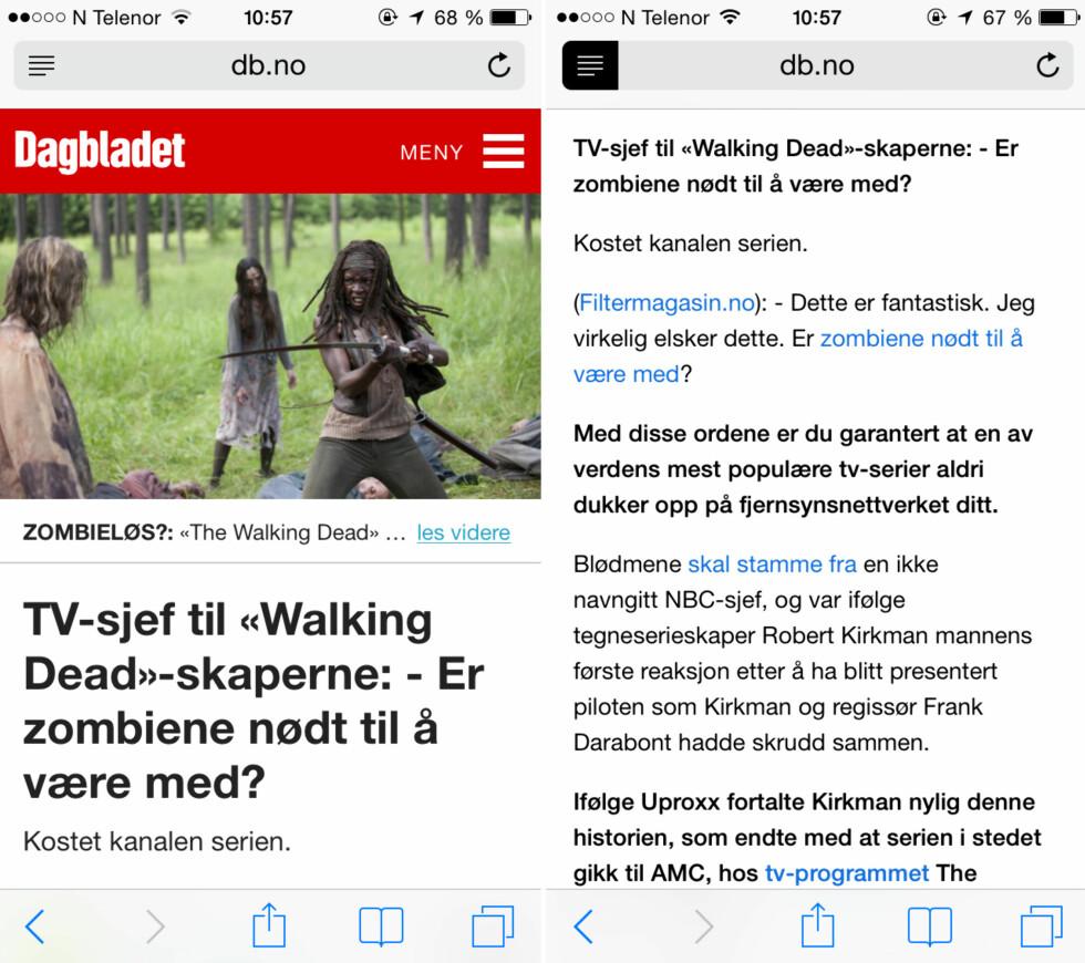 KUN TEKST: Til høyre ser du hvordan en artikkel kan se ut i Safari når du stripper den for alt bortsett fra innholdet. Foto: KIRSTI ØSTVANG