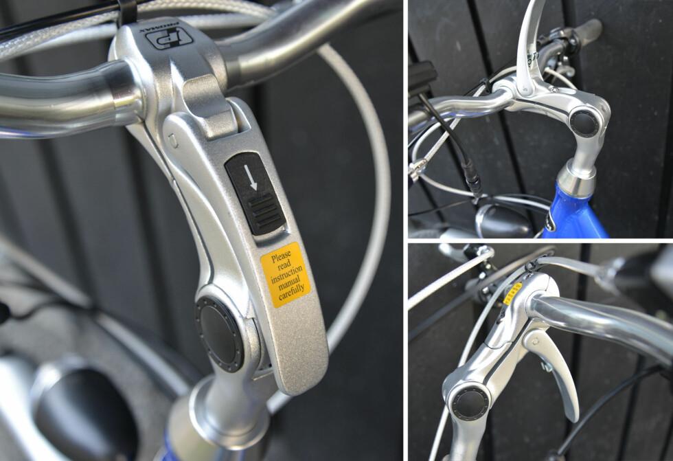 Justering av styret er både enkel og avansert på sykkelen fra Clas Ohlson. Foto: BRYNJULF BLIX