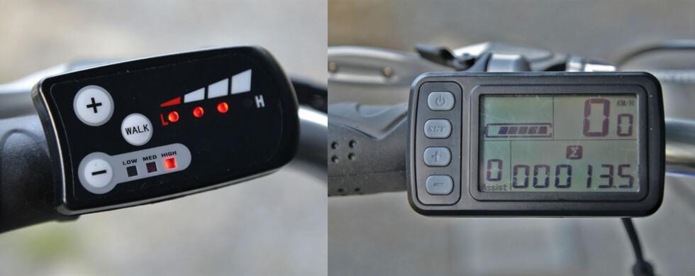 Kontrollpaneler Biltema og Clas Ohlson. Flere muligheter på modellen fra Clas Ohlson. Foto: BRYNJULF BLIX