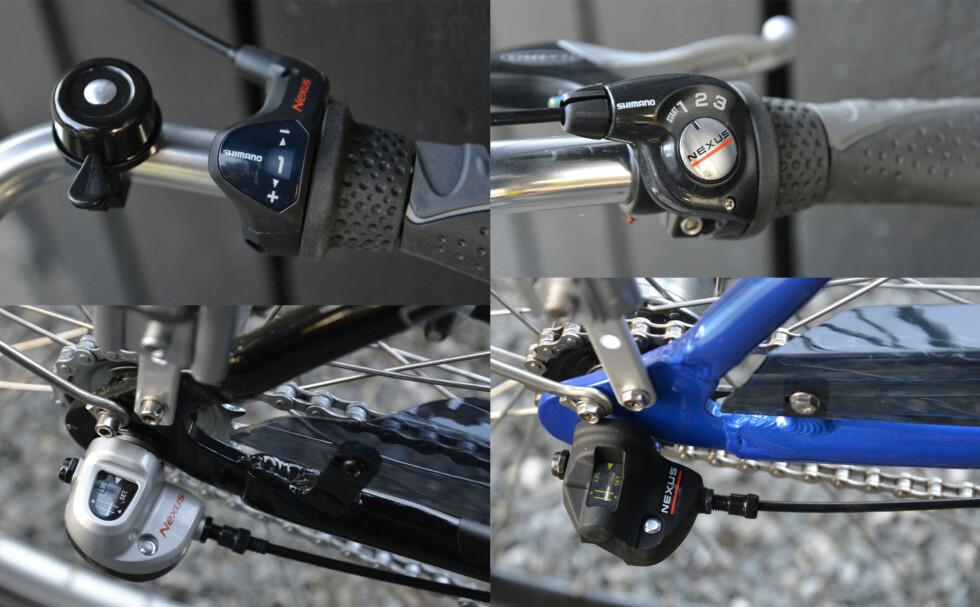 Giret er praktisk talt det samme på begge modellene. Foto: BRYNJULF BLIX