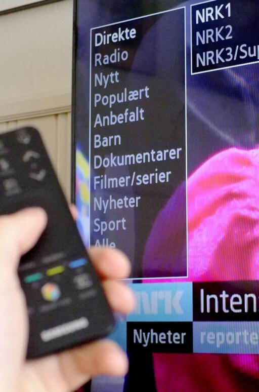 ENKELT: NRK nett-TV-appen vil ikke imponere noen på designsiden, men menyen er enkel å bruke. Og det er tross alt det viktigste.  Foto: OLE PETTER BAUGERØD STOKKE